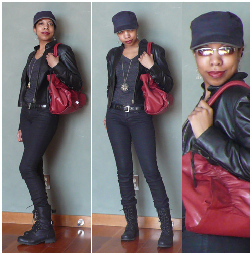 Outfit: April 24th 2011: almost black skinny jeans, charcoal v-neck, black leather motorcycle jacket, navy cap, black combat boots, coral dangly earrings, cherry red purse
