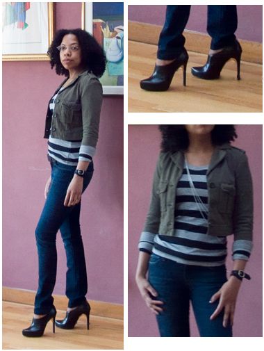 Blue straight legged jeans, black and grey striped shirt, military green cropped jacket, silver necklaces, Ruthie Davis black booties