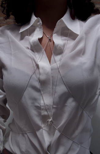 Brown leather look cropped, white silk blouse, silver necklaces, brown over the knee Donald Pliner boots