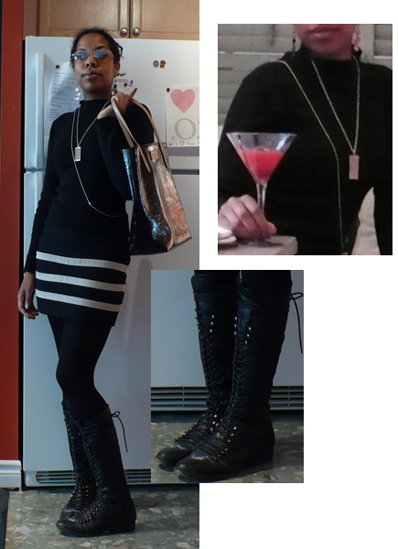 black/beige bandage skirt, black sweater, silver necklaces, knee high boots