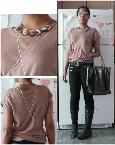 dusty rose knit tee, zipper pocket black denim, silver necklaces, disc necklace, black lace up boots, black kate spade bon shopper